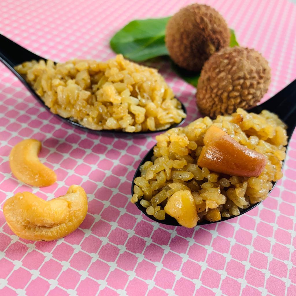 Riz tieb jaune sénégalais sauté à la thaïlandaise, litchi, noix de cajou.