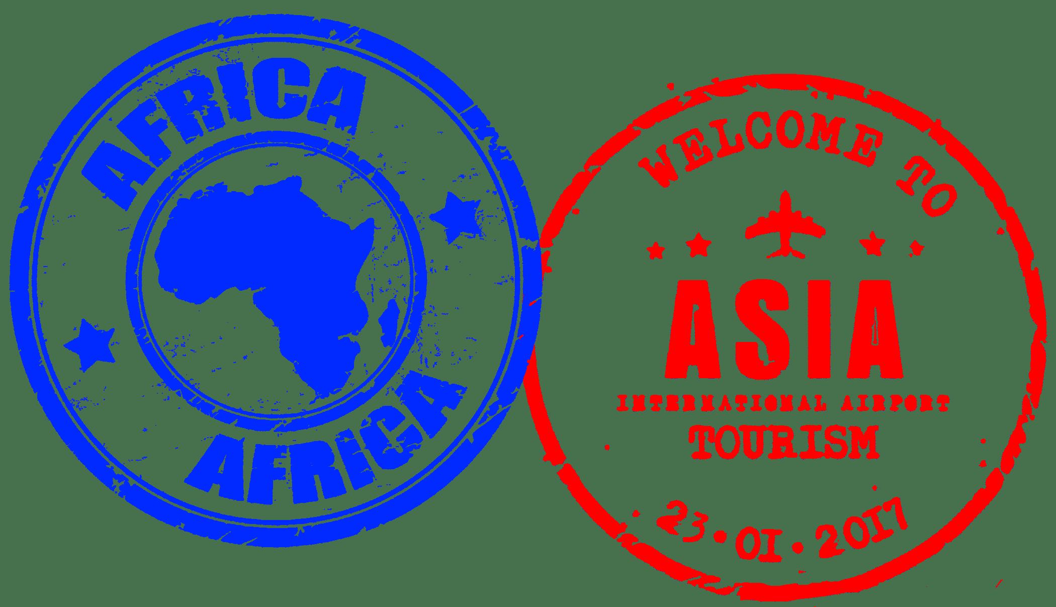 Tampon passeport, voyage, bienvenue, Afrique, Asie.